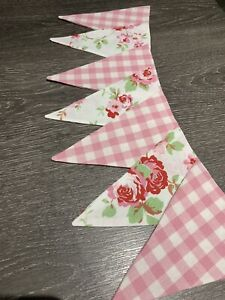 FLAGS 12CM PINK GINGHAM LAURA ASHLEY FABRIC BUNTING 10 FLAGS 15CM.HOMEMADE