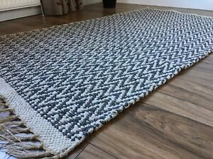 Second Nature Online Greta Dark Grey Soft Rug Runner Scandinavian Herringbone