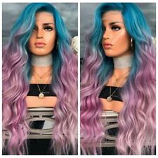 Women Sexy Long Curly Wavy Full Wig Purple Synthetic Hair Rainbow Colorful Wigs
