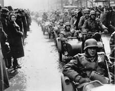 WWII Photo German Motorcycle Column Prague 1939  WW2 B&W World War Two / 2195