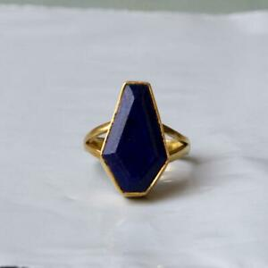 925 Sterling silver Gold Plated Natural Blue Sapphire Gemstone Handmade Ring