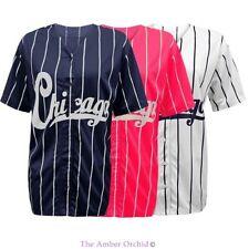 Neu Damen Chicago Uni Streifen American Baseball Trikot Top T-Shirt