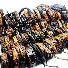 wholesale handmade 100pcs men's black/brown retro leather cuff surfer bracelets