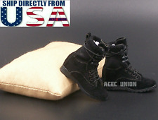"1/6 Women Soldier Assault Combat Boots BLACK For 12"" Female Figure U.S.A. SELLER"
