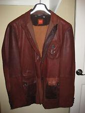 Hugo Boss Blazer Jacket Lamb Leather Suit Coat Brown Tan Orange Label RARE!