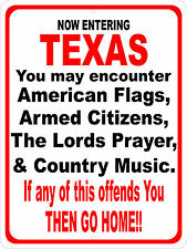 "Texas American Flags Lords Prayer Country Music 9""x12"" Man Cave Sign"