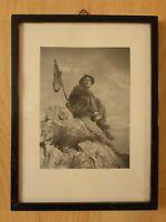 altes kleines Bild Foto Bilderrahmen Bergsteiger Wanderer datiert 12.8.1948