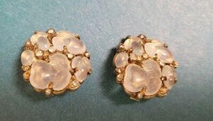 Trifari 'Alfred Philippe' Moonstone Fruit Salad Button Clip Earrings (As Is)