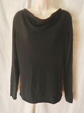 KIRKLAND Black 100% Cashmere Pullover Sweater Draped Neck Long sleeves L Perfect