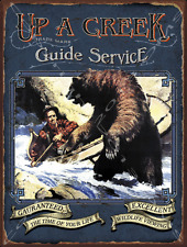 Up A Creek Guide Service Metal Sign, Bears, Cabin Decor, Hunting