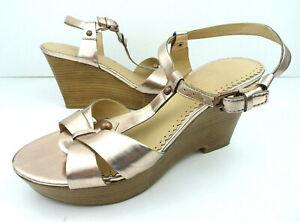 Franco Sarto US 6.5 Sandals Rose Gold Platform Wedge Heel Ankle T Strappy Studs