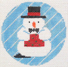 Snowman with Hat Ornament Hand Painted Needlepoint Canvas