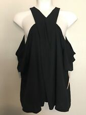 $99 RACHEL Rachel Roy Women's Plus Size 20W Black Twist Front Cold Shoulder Top