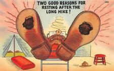 HOLES IN THE SOLES OF SHOES AFTER HIKE COMIC MILITARY PATRIOTIC POSTCARD 1940s