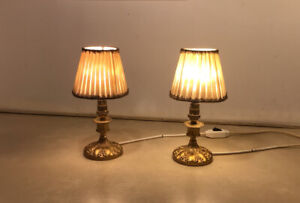 Pair Of Vintage Bedside Lamps Brass