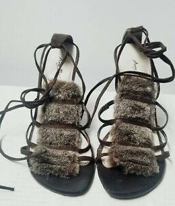 women faux fur sandals high heels with tie ankle straps Anne Michelle shoesSz 8