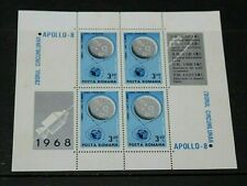 ROMANIA 1969 SPACE APOLLO 8 MINATURE SHEET  M/N/H