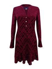Tommy Hilfiger Women's Printed Burnout Dress (12, Merlot)