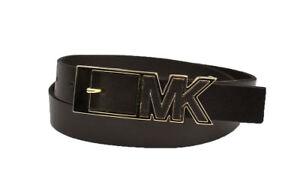 New Michael Kors MK Women's Genuine Leather Logo Buckle Belt *CHO Style# 552526