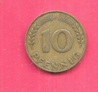 GERMANY GERMAN KM103 1949J XF-SUPER NICE OLD 10 PFENNIG LARGE J COIN