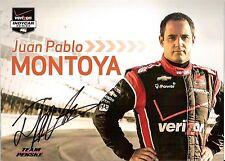 2014 JUAN PABLO MONTOYA signed INDIANAPOLIS 500 PHOTO CARD POSTCARD INDY CAR wCA