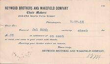 1912 HEYWOOD BROTHERS & WAKEFIELD COMPANY*CHAIR MAKERS*PHILADELPHIA*POSTCARD