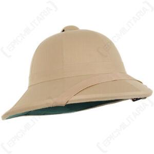 British Khaki Pith Helmet with Chin Strap Repro Explorer Adventurer Colonial Hat