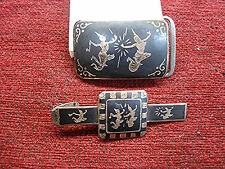 VINTAGE SIAM STERLING SILVER NIELLO FINISH BELT BUCKLE & TIE CLIP  - NICELY MADE