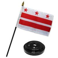 "Washington DC District of Columbia Flag 4""x6"" Desk Set Table Stick Black Base"