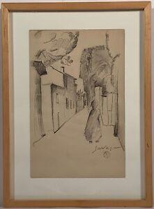 """Léopold Survage (1879-1968) Signed Drawing """"Femme Dans La Rue Du Village"""""""
