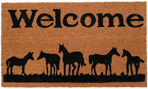 Outdoor Doormat Welcome Mat Floor Rug Entrance With Horses Farmhouse Decorations