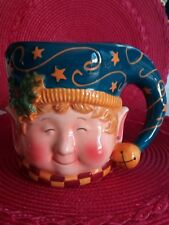 Certified International Christmas Holiday jumbo Elf  Cup /Mug by Susan Winget .
