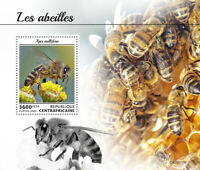 Central African Rep Bees Stamps 2020 MNH Honey Bee Insects 1v S/S