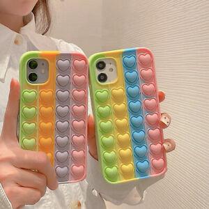 Case For iPhone 12 Pro Max 11 XR XS 7 8 Love Pop Fidget Push Bubble Phone Cover