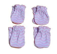 4 Pairs Cotton Newborn Baby/infant Anti-scratch Mittens Gloves - Pink Wave