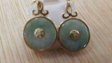 14k yellow gold earrings With jade