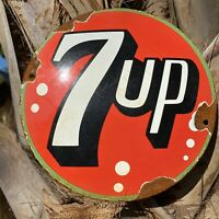 VINTAGE 7UP SODA POP PORCELAIN METAL SIGN GAS STATION SOFT DRINK BEVERAGE DOME