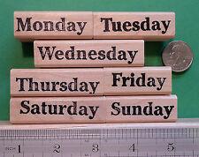 Days of the Week Rubber Stamp Set of 7, wood mounted