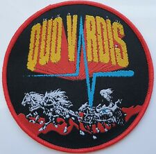 VARDIS IMPORT WOVEN PATCH QUO VARDIS NWOBHM BLUES ROCK HEAVY METAL RED BORDER