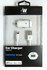 Just Wireless WHITE USB Car Charger with Lightning Cable for Apple iPhone iPad