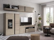 Mueble de Salón de TV Manhattan 210x250 cm, Melamina - Madera Clara (03791)