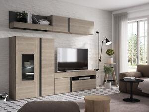 Mueble salon comedor con LED compuesto de varios modulos color sable 210x250 cm