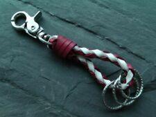 Schlüßelanhänger aus echtem Leder geflochten 3 Schlüsselringe Karabinerhacken #5