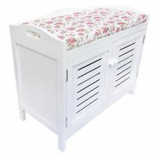 Assembled White Kid Bedroom Hallway Flower Padded Seat Stool Bench Shoe Cabinet