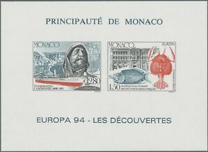 SMT, Monaco,1994, Europa-Cept, souvenir sheet IMPERFORATE, CV € 175, MNH, RR