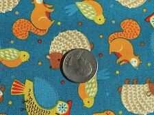 Fabric Camp Cozy Woodland Owls Hedgehog on Lt Blue Cotton 1 Yard S