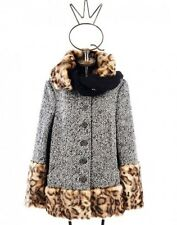 SAVE THE QUEEN Wool / Alpaca Coat w/ Faux Fur Trim and Knit Shawl sz XS  $650