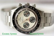 New ALPHA WATCH DAYTONA IVORY DIAL PAUL NEWMAN MECHANICAL Chronograph CLEAR BACK
