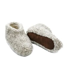 MEN 100% GRAY SHEEP WOOL BOOTS HOUSE SLIPPERS  SHEEPSKIN SUEDE SOLE