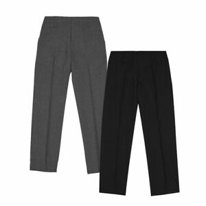 Girls Black School Trousers Kids Age 6-13 Pull Up Stretch Plain Pants Trousers
